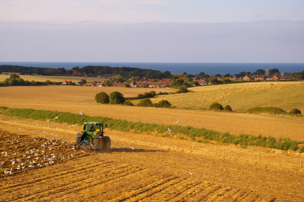 Farmland with a tractor on the field with the sea in the background on a blue sunny day