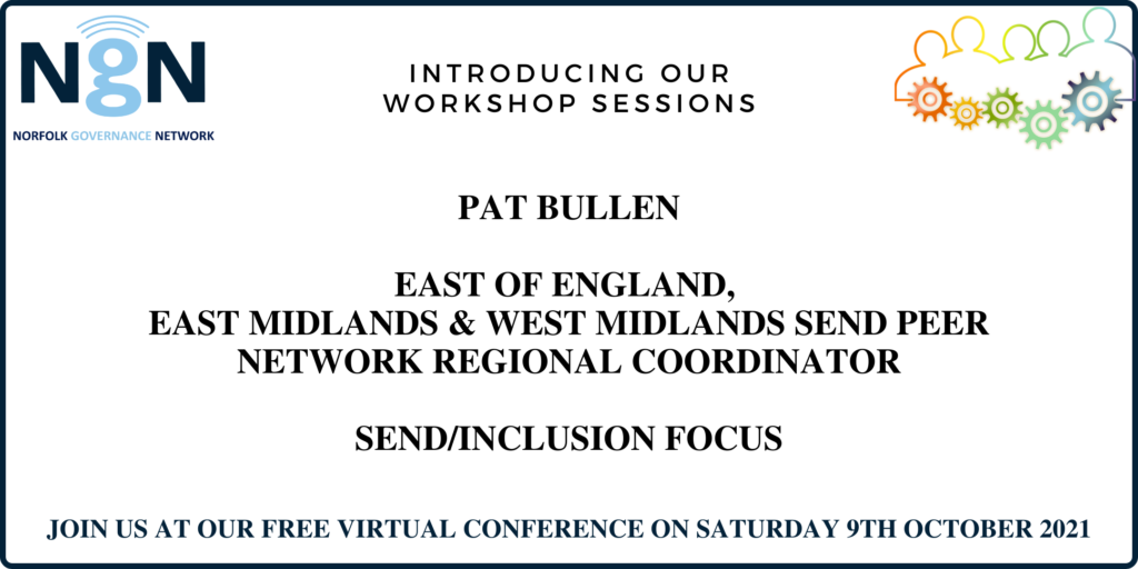 Colourful graphic with outline of people all connected by cogs, wording Introducing our workshop sessions - Pat Bullen - SEND/Inclusion Focus