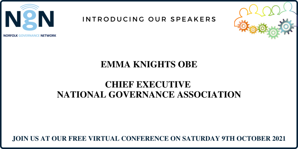 Colourful graphic with outline of people all connected by cogs, wording Introducing our speakers - Emma Knights OBE, Chief Executive National Governance Association