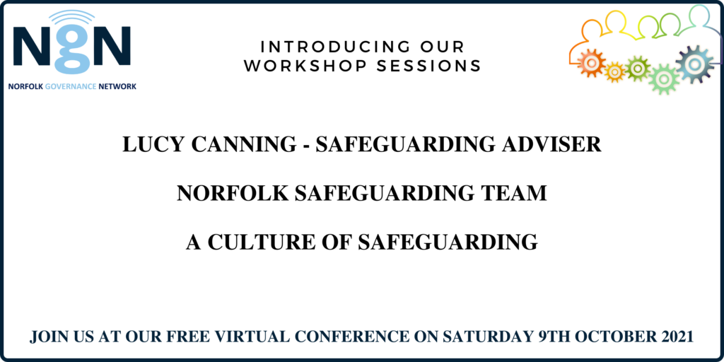 Colourful graphic with outline of people all connected by cogs, wording Introducing our workshop sessions - Lucy Canning, Safguarding Adviser - A culture of safeguarding